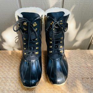 Sperry x J Crew Shearwater Black Leather Duck Boot